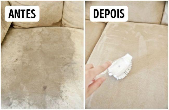 12dicas práticas para arrasar nalimpeza decasa. Para eliminar as manchas do sofá, uma esponja branca e uma boa dose de álcool são suficientes. Para eliminar cheiros ruins, use bicarbonato de sódio