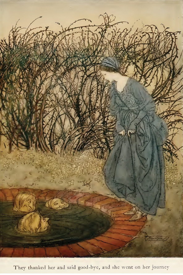 Arthur Rackham illustration of 'The Three Heads of the Well' from English Fairy Tales, 1922