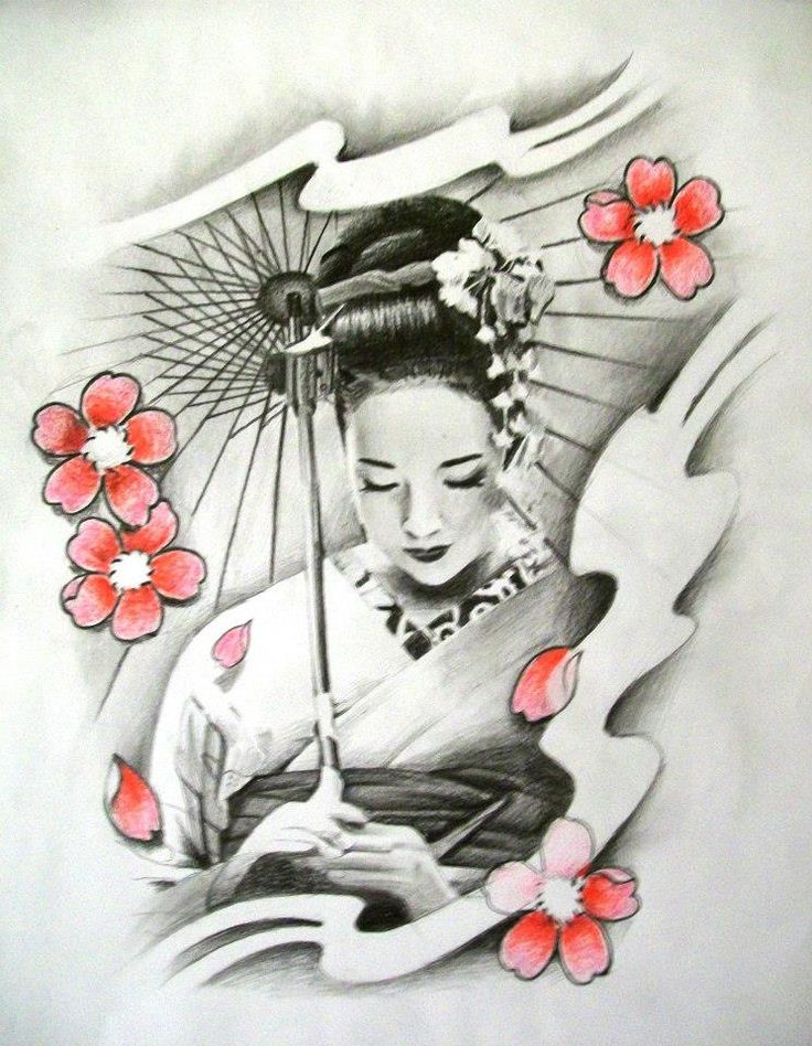 Cherry Blossom Geisha | Cherry Blossom n Geisha Tattoo Design | Tattoobite.com
