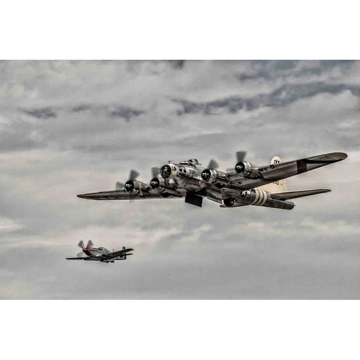 """""""B-17 Flying Fortress with P-51 Mustang escort"""" by Glenn Martin, Canvas Giclee Wall Art Print"""