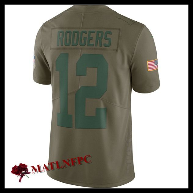 Maillot de NFL Green Bay Packers pas cher, Maillot NFL Aaron Rodgers Green Bay Packers Olive Homme
