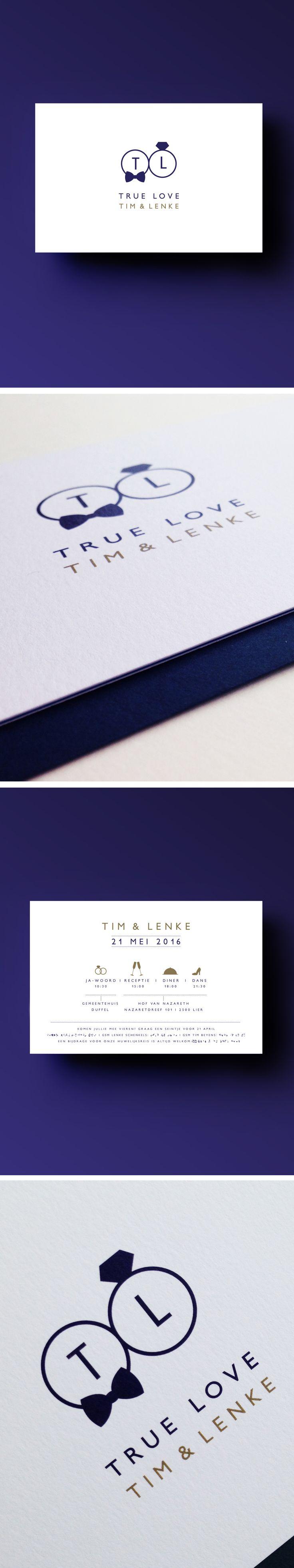 Tim & Lenke // True Love // initialen // ringen // trouwuitnodiging // strak // eenvoud