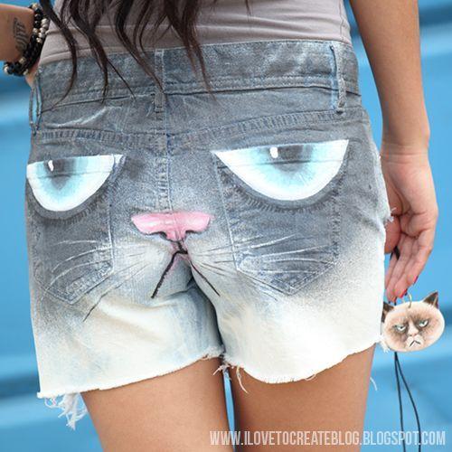 Grumpy Cat Shorts DIY