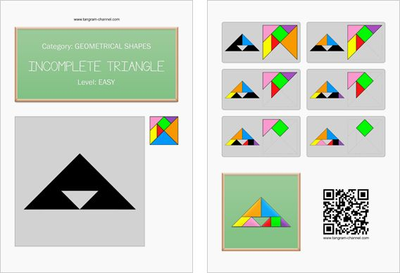 Tangram worksheet 78 : Incomplete triangle - This worksheet is available for free download at http://www.tangram-channel.com