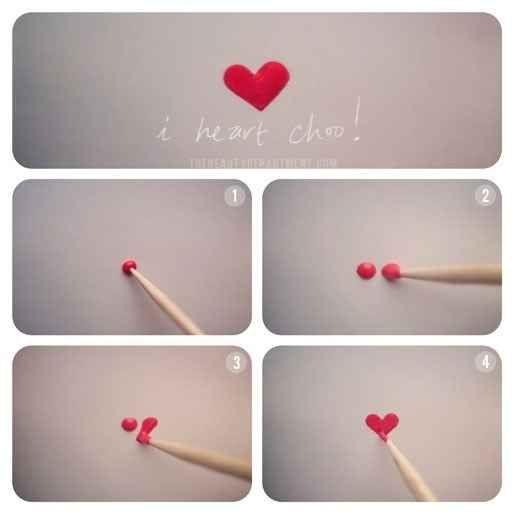 Dessinez facilement un cœur avec un cure-dent.