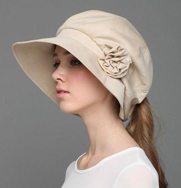 Beige flower sun hats for women UV protection bucket hats