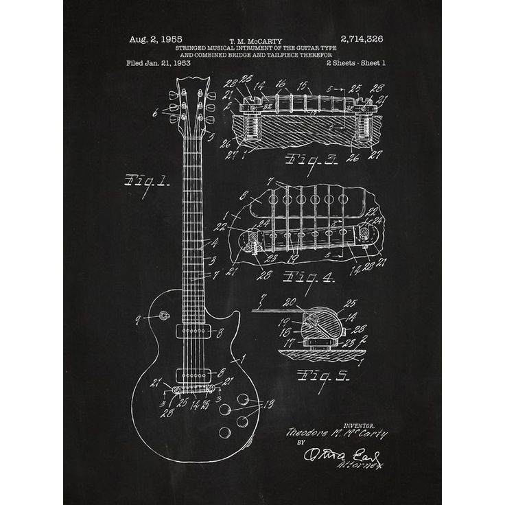 Williston Forge Gibson Les Paul Guitar Blueprint Graphic Art Reviews Wayfair Patent Prints Graphic Art Print Silk Screen Printing