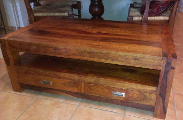 Dřevěný TV stolek + 2 zásuvky, palisandr masiv (nebo Coffee table) > varianta III./120 cm