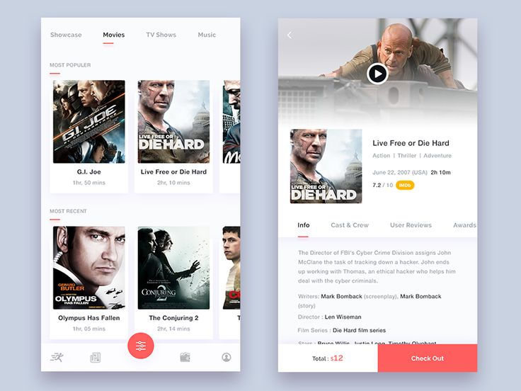Movies screen for Online Digital Entertainment App! Press 'L' to show your love:)