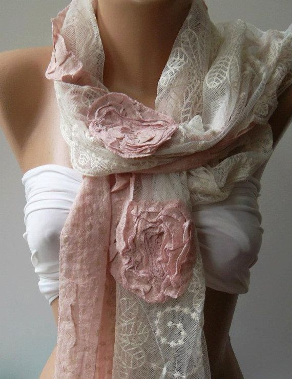 ON SALE/Pink  Elegance Shawl  Scarf with Lace Edge by womann,