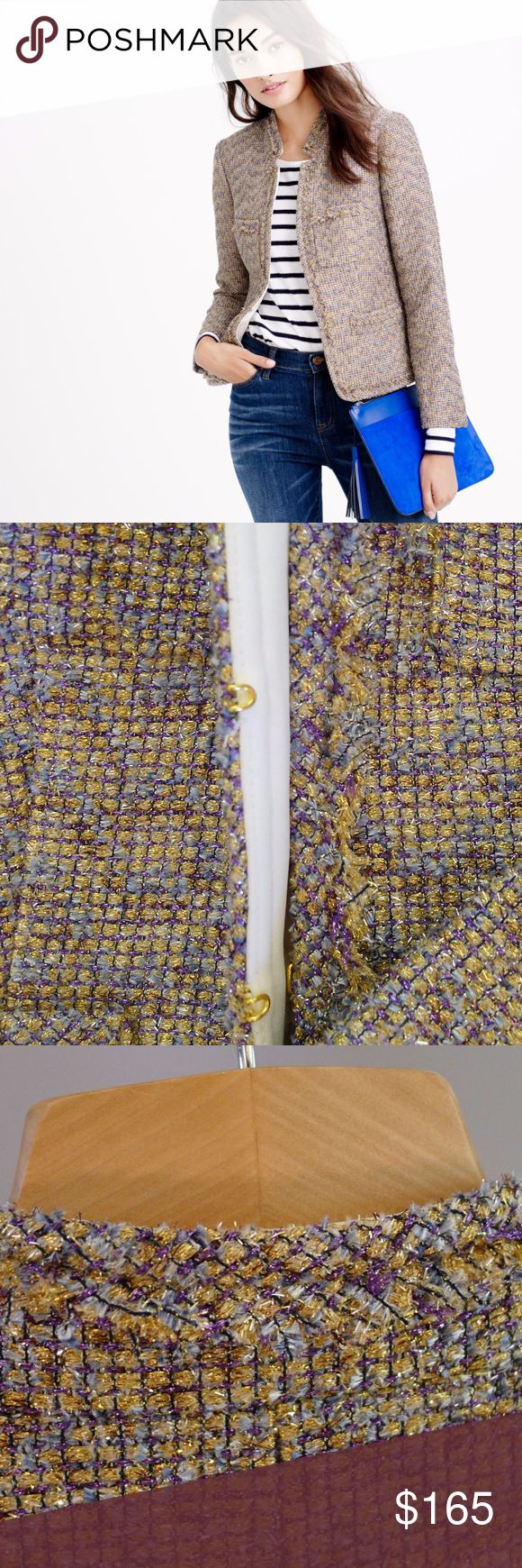 J Crew Metallic Tweed Blazer This is one of the rare J Crew stunners that never go out of style and are great for any occasion, from work and more formal gatherings to fun parties, or when you simply want to dress up your jeans. Gold, purple and baby blue metallic tweed jacket with satin beige and white lining, hook and eye closure. Classic  straight silhouette, two chest patch pockets and two waist besom pockets with a fringe trim, stand-up collar inverted notch with fringe trim. 72%…