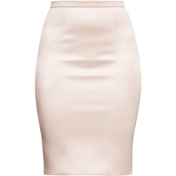 Alice Grace - Peach Stretch Satin Pencil Skirt ($235) ❤ liked on Polyvore featuring skirts, knee length pencil skirt, pink skirt, pink bodycon skirt, pencil skirt and body con pencil skirt