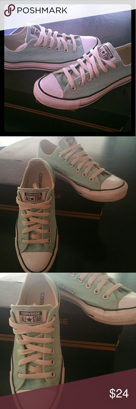 Converse sz 7 Womens  a light turquoise Converse sz 7 Womens  a light turquoise  The color code for exact color is posted in 4th pic Only worn 2x. The shoestring 's got a little dirty but everything else in great condition. Converse Shoes Sneakers