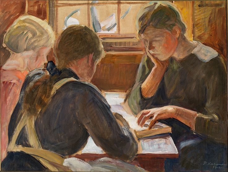 Children reading (1916). Pekka Halonen (Finnish, 1865-1933). Oil on canvas. EMMA – Espoo Museum of Modern Art.Halonen throughout the 1910s painted many works that were focused on his home, painting his home environment at different times of the year, but also inside the home, completing interiors and paintings of his children as subjects. He moved to a brighter and cleaner color palette which he introduced gradually in the 1900's.