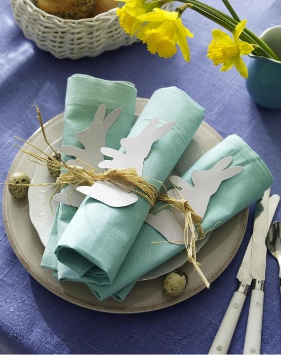 duck egg blue napkins with little Easter bunnies, so cute