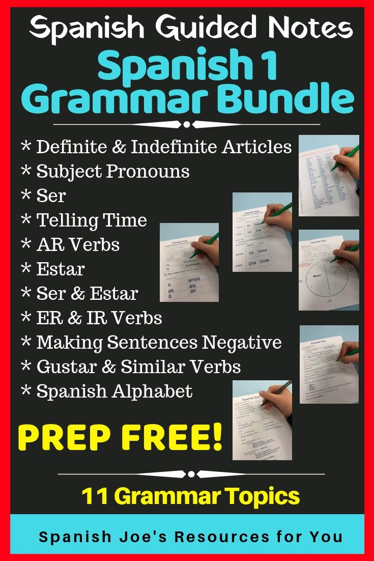 Spanish 1 Guided Notes Teacher Key Grammar Bundle Guided Notes How To Teach Kids Definite And Indefinite Articles [ 1102 x 735 Pixel ]