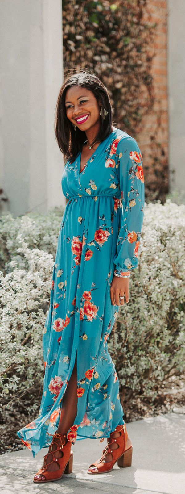 Spring style from PinkBlush, teal floral print chiffon dress for maternity or non-maternity. Spring fashion SidelineSocilaite.com