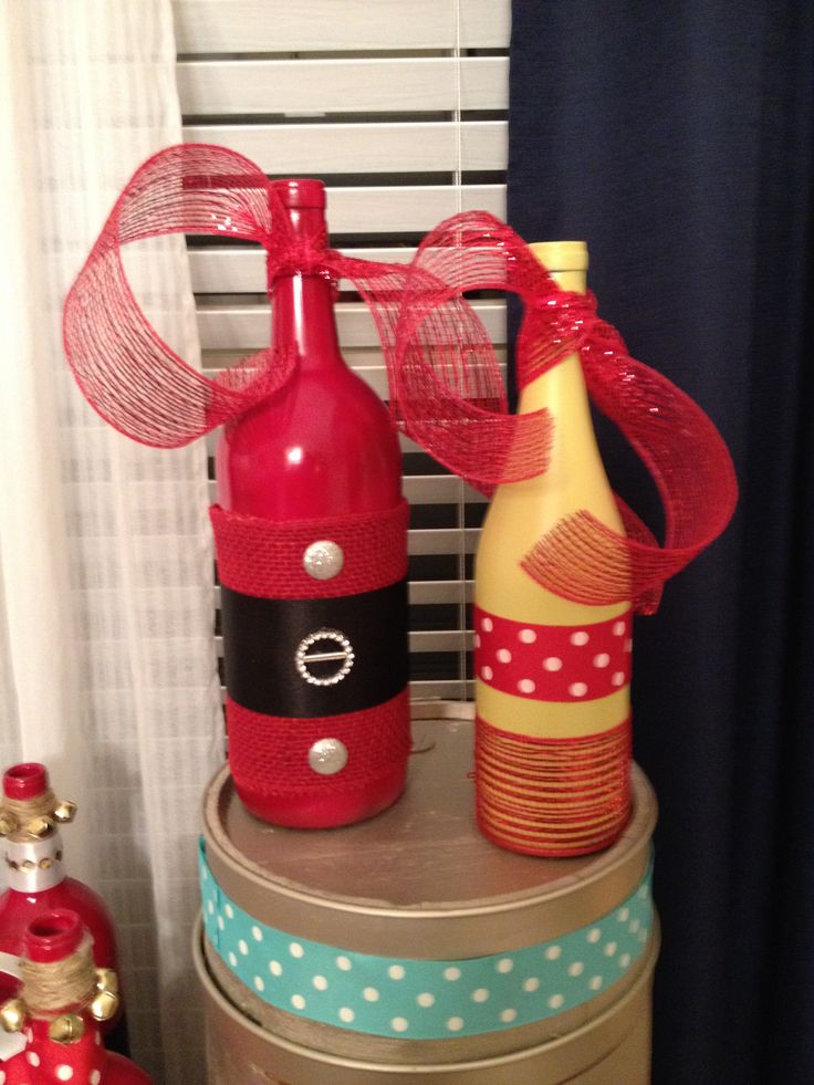 50 best bottle decorating by others images on pinterest for Christmas craft ideas with wine bottles