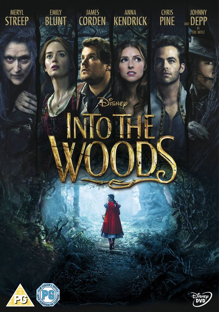 "Into the Woods (2014) based on the stage musical by Stephen Sondheim and James Lapine, directed by Rob Marshall, starring Anna Kendrick, Chris Pine, Meryl Steep, James Corden, Emily Blunt and Johnny Depp. ""A witch tasks a childless baker and his wife with procuring magical items from classic fairy tales to reverse the curse put on their family tree."""