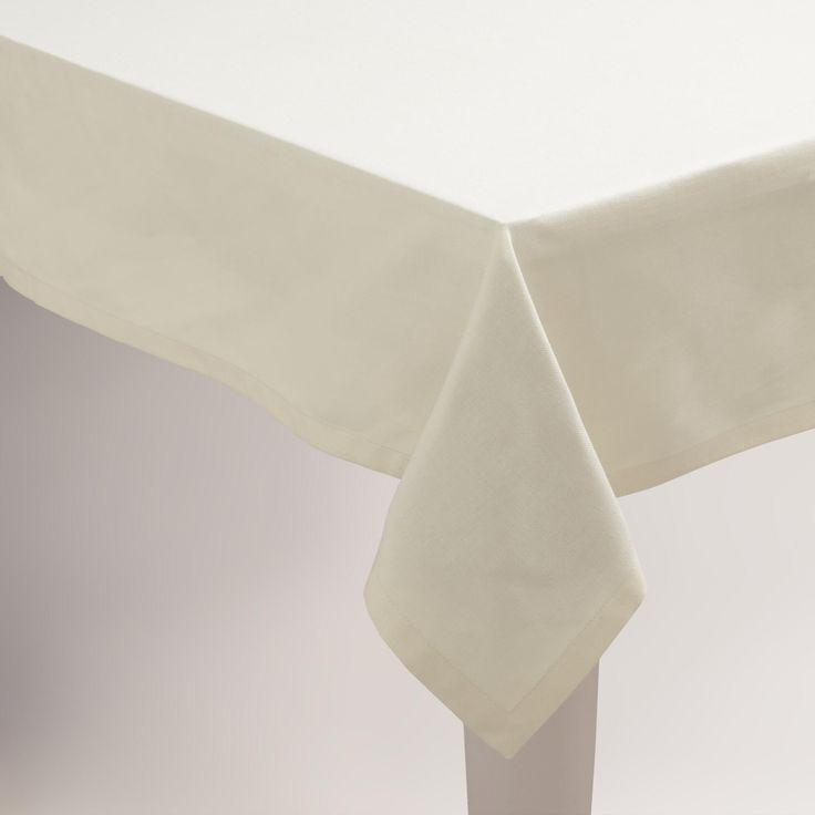 Ivory Hotel Linen Tablecloth. world market.