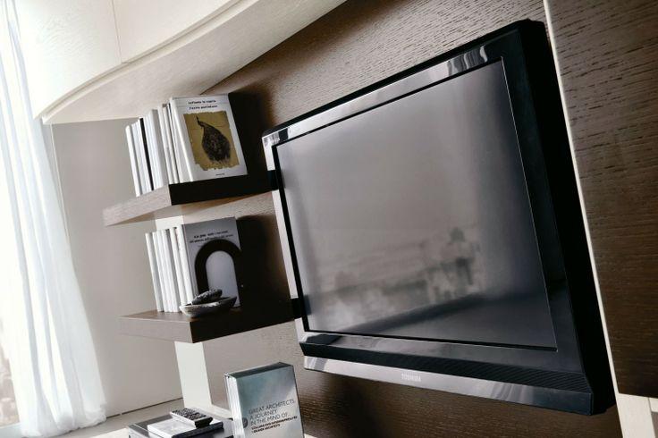 Parete Attrezzata per soggiorno con postazione PC 552 - dettaglio schienale predisposto per TV e mensole in rovere moro | Napol.it
