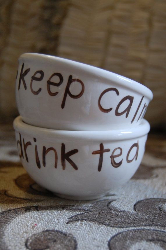 Tea Bowl // Keep Calm and Drink Tea - Simple Asian Style Zen Tea Cup or Small Bowl, Custom Painted