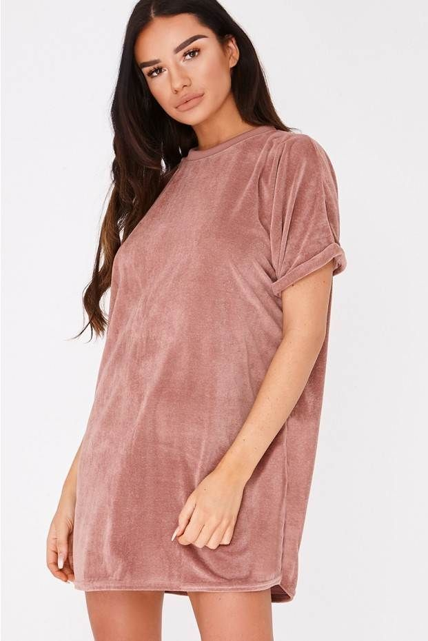 767665585032 SARAH ASHCROFT DUSTY ROSE TEDDY FLEECE OVERSIZED T SHIRT DRESS
