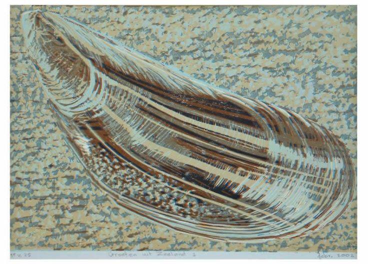 prenten zeeland / Groeten uit Zeeland 1 reductielino op papier, 21 x 14,5 cm.