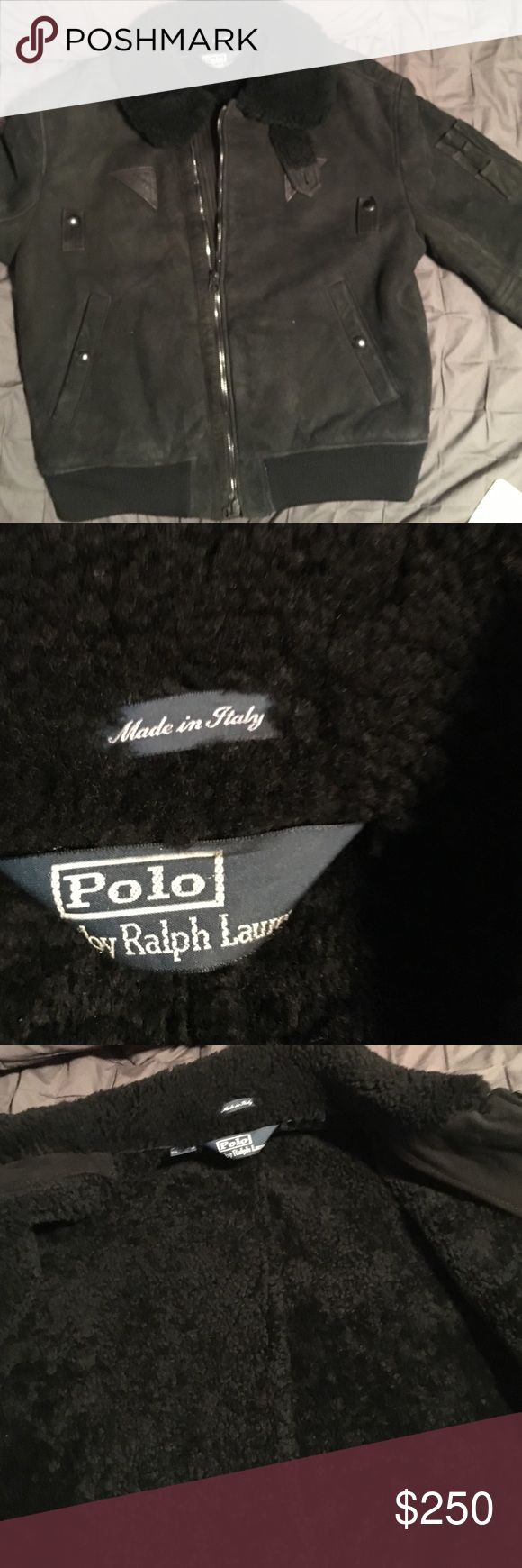 Black Mens Shearling Jacket Total shearling.., extremely warm... worn a few times  for 1 season.  marked large but fits like a Medium ..2 Front pockets  shoulder to bottom of Jacket measures  23 inches  sleeve of arm measures 24 made in Italy. Ralph Lauren Jackets & Coats Military & Field