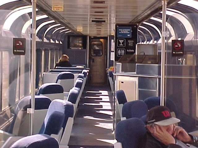 Amtrak observation cars are great for viewing scenery