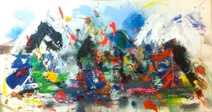 Provence Alps 4  Mixed media on canvas  100x50cm  370€