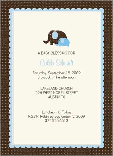 elefant bleu Baptism Invitation