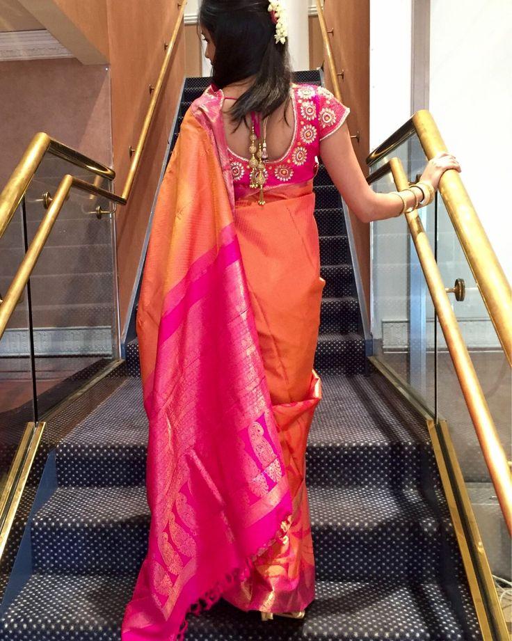 Indian Silk Wedding Saree Orange and Pink Pattu Designer Blouse