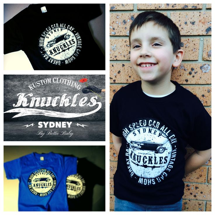 Knuckles High Speed racing tee.  Your little greaser is going to love our Knuckles high speed racing t shirt, its super soft and features a vintage front print.  All our screen printing is done by hand to ensure top quality prints.  Available in Black and Blue Made from 100% combed cotton.