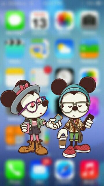 Fondos de bloqueo wallpaper iPhone android galaxy kawaii .. Para mas fondos aqui-> http://decoracioneskit.wixsite.com/fondoswallpapers hipster mickey mini couple