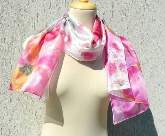 Floral silk scarf colorful summer scarf hand painted by AndreaSilk, $55.00
