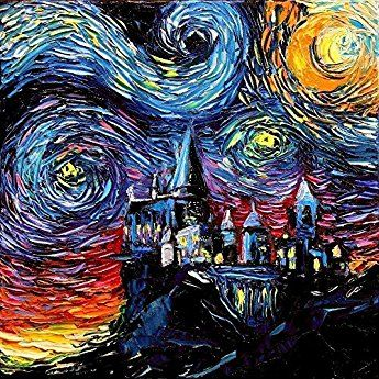 Harry Potter Inspired Art - PRINT - Starry Night Hogwarts Castle - van Gogh Never Saw Hogwarts - Art by Aja 8x8, 10x10, 12x12, 20x20, 24x24 inch sizes