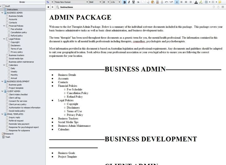 Administration Documents for Therapist using Scrivener