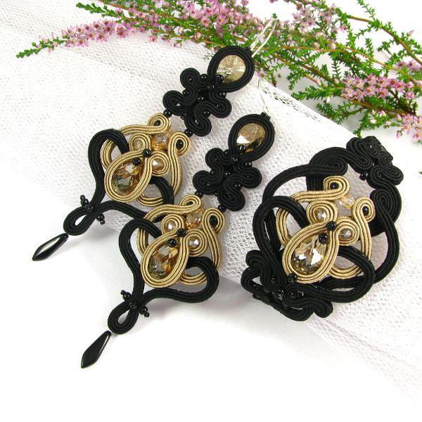 Swarovski and soutache, hand embroidered earrings. #swarovski #soutache #earrings #black #gold #beige #bracellet #pillowdesign www.pillowdesign.pl