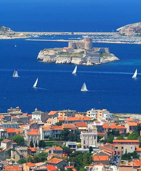 Marseilles Coast Line -- This picture reminded me of San Francisco with a fortress on an island. Sure enough, Chateau d'If used to be a prison and at one point held the Man in the Iron Mask.