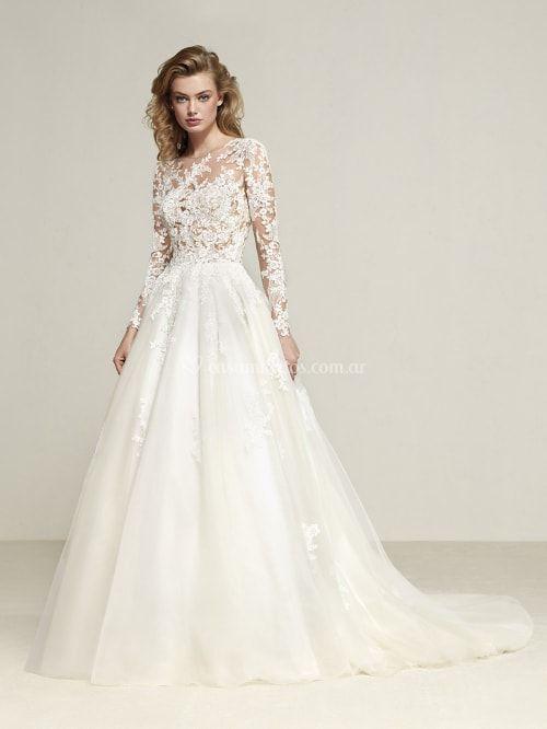 Vestido de novia con escote ilusión modelo DRIZANA (PRONOVIAS)  wedding   bodas   0d16923480a8