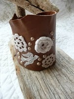 lace, crochet and leather cuff