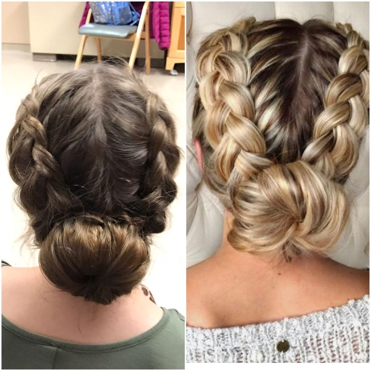 This is a super easy hairstyle. Took me 3 mins to do. (Me on left, model on right) •first do 2 Dutch braids •then ponytail at desired bun point • use a donut bun maker to get the perfect round bun • then take a picture