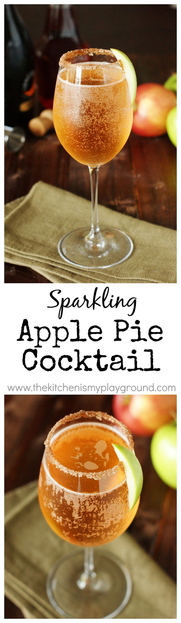 Sparkling Apple Pie Cocktail ~ a perfect cocktail for Fall sipping!   www.thekitchenismyplayground.com