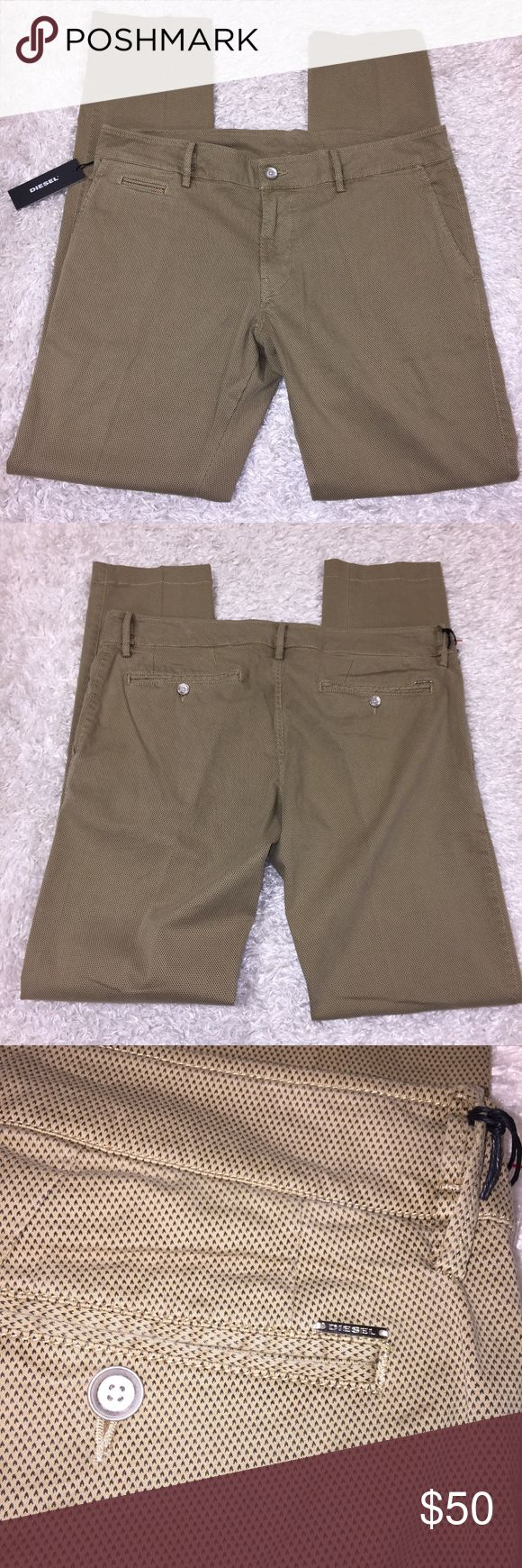 """NWT Diesel Pants New! Size 38. Khaki color, straight leg. Waist: 19 1/2"""". Inseam: 33"""". Feel free to ask any questions, no trades/models sorry. Offers thru offer button only! Items ship sam day M-F if purchased before 2 PM PST. x Diesel Pants"""