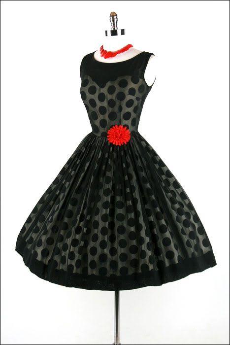 Chiffon Polka Dot Dress, circa 1950's
