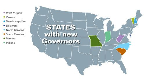 New governors of eight states - West Virginia, Vermont, New Hampshire, Delaware, North Carolina, South Carolina, Missouri and Indiana - reveal ideas affecting economic development.