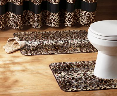 Leopard Print 2-Pc. Bathroom Rug Set