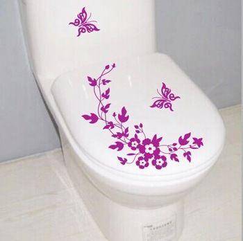 Entrega gratuita de pared pegatina mariposa flores baño aseo pegatinas de pared decoracion casa pared pegatina pared decoración para el hogar pegatina