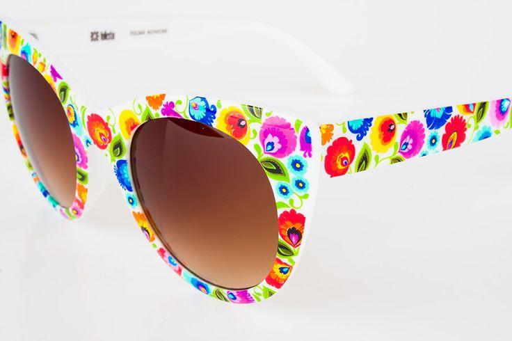 Okulary przeciwsłoneczne FOLK kwiaty łowickie - białe